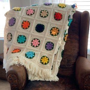 """Crocheted Flowers Afghan Blanket Large 62"""" X 87"""""""